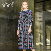 POKWAI 2018 Autumn New Seven Point Sleeves With Slim National Wind Embroidered Hollow Stitching Print Dress