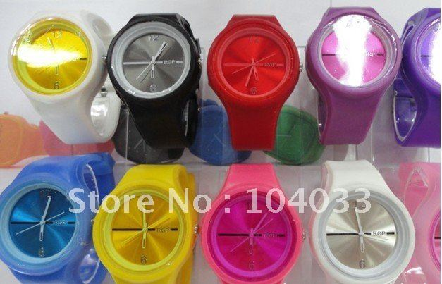 Hot sale round Jelly Watch Fashion ODM Style Green purple red pink yellow 1000pcs free shipping via DHL EMS