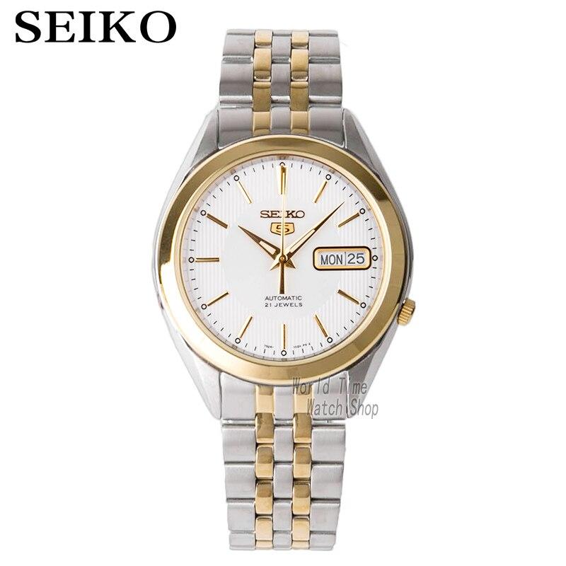 Seiko horloge mannen 5 automatische horloge Top Luxe Merk Waterdichte Sport Klok Polshorloge Heren Horloges set relogio masculino SNKL15-in Mechanische Horloges van Horloges op  Groep 1