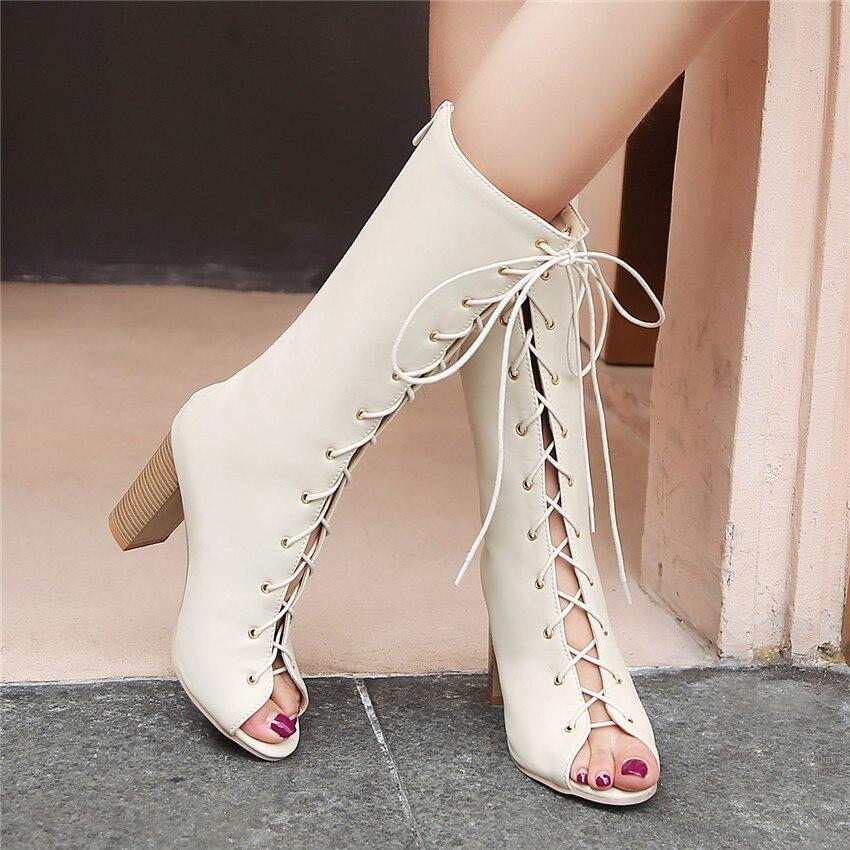 Summer Woman High Heels Mid-Calf Boots Peep Toe Women Short Boots Shoes botas botte Plus Size 33 34 - 40 41 42 43 44 45 46 47 48