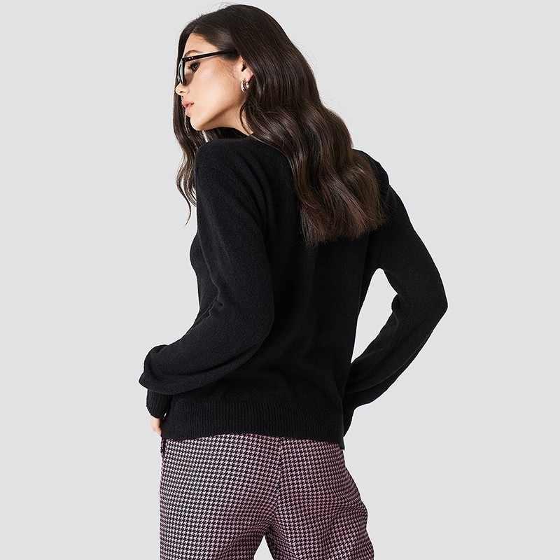 HDY Haoduoyi 2019 новый модный простой тонкий пуловер Джемпер трикотажные топы глубокий v-образный вырез осень длинный рукав женский свитер