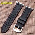 Silicone watch band strap 42mm para apple iwatch diver mens watchband mulher linha de costura branca macia substituição à prova d' água
