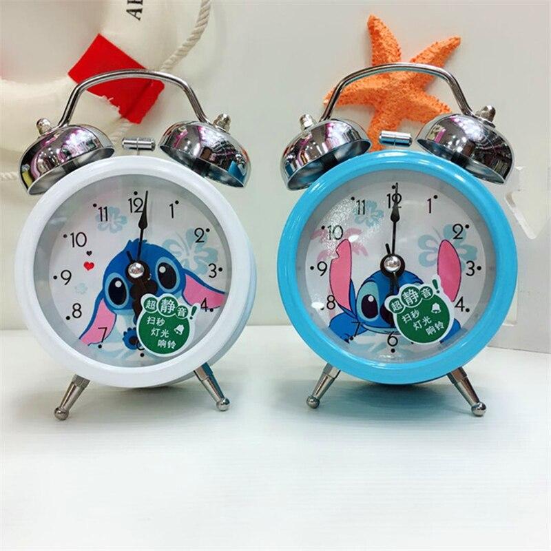 2018 new Disney Stitch Clock 3d Cartoon Fashion Blue White Bell Alarm Boys and Girls Students Kids Bedroom Bedside Alarm Clock|Alarm Clocks| |  - title=