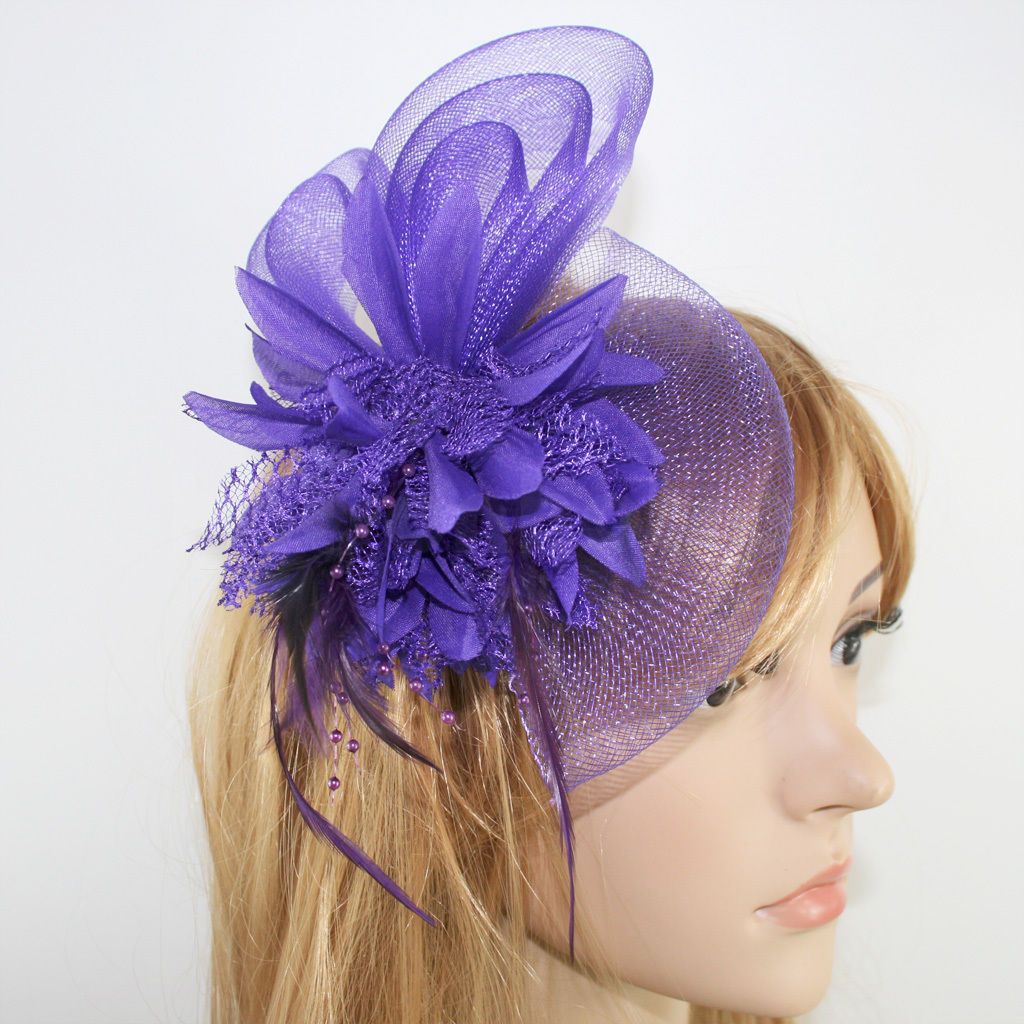 Beaded Feather Hair Fascinator Bunny Hair Clip Headband Mess Wedding Royal Races Wedding Tiara  Bridal Tiara  Hair Jewelry