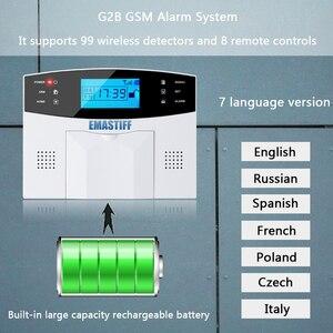 Image 2 - Nowa wbudowana antena czujnik szczeliny drzwi czujnik ruchu PIR bezprzewodowy LCD GSM karta SIM dom system alarmowy dym Flash syrena
