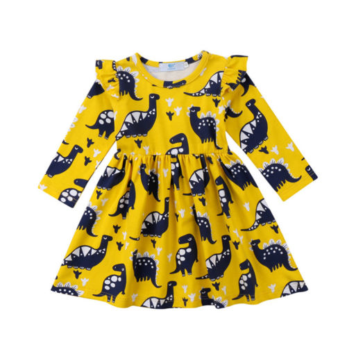 Cute Toddler Kid Baby Girls Clothes Dresses Long Sleeve Cotton Dinosaur Party Pageant Wedding Tutu Dress Clothing 2017 cute children girls cotton dress long sleeve print tutu party dresses toddler kids clothes outfits 1 5y