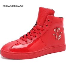 MEIGOUMEIGOU 39-47 Big Size Men Vulcanize Shoes Waterproof High Sneakers Men Casual Shoes Fashion Metal Design Glossy Flats Men