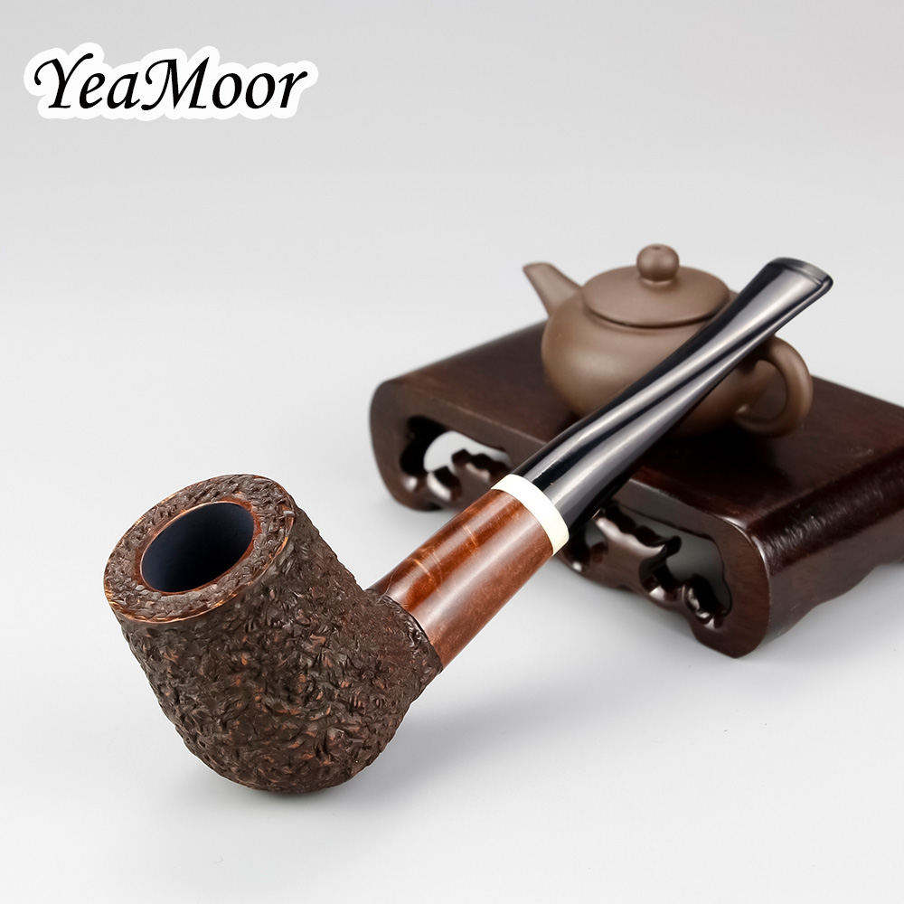 Handmade Carved Briar Pipe 9mm Filter White Ring Smoking Tobacco Pipe 74 tools free Carven Smoking