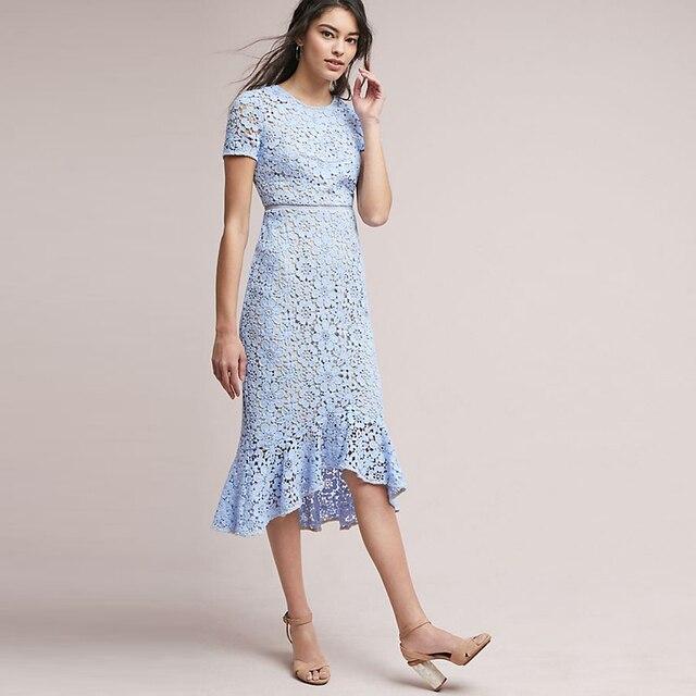 a8abf8a7a5 Eleganckie damskie lato koronki sukienka O-neck kobiet Slim syrenka sukienki  z krótkim rękawem światło niebieskie połowie sukienka dla kobiety OL  sukienka ...