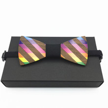 Hollow Handmade rainbow Wood Bow ties Bowtie with solid blue pocket square For Men Wooden bow tie