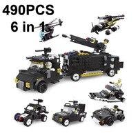 6in1 город policeCommand автомобиль строительные блоки вертолет блоки для самостоятельной сборки образовательный просвещение детские игрушки