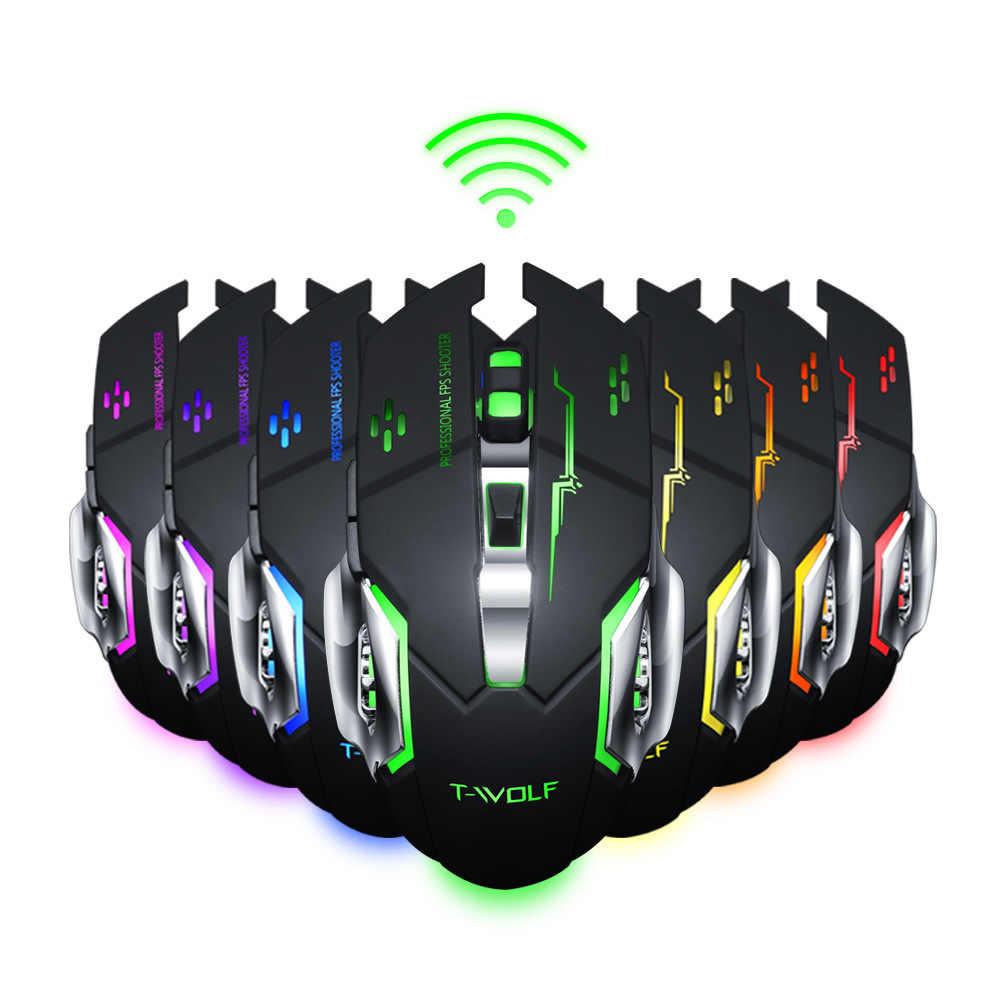 Gearwheel Беспроводная подзарядка подсветка светящаяся Игровая USB мышь 2,4 ГГц 2400 dpi батарея Встроенный черный белый геймер