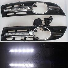 Super bright Waterproof car light DRL LED Daytime Running Lights with fog lamp hole For VW Volkswagen Passat B6 2007 2008 2009