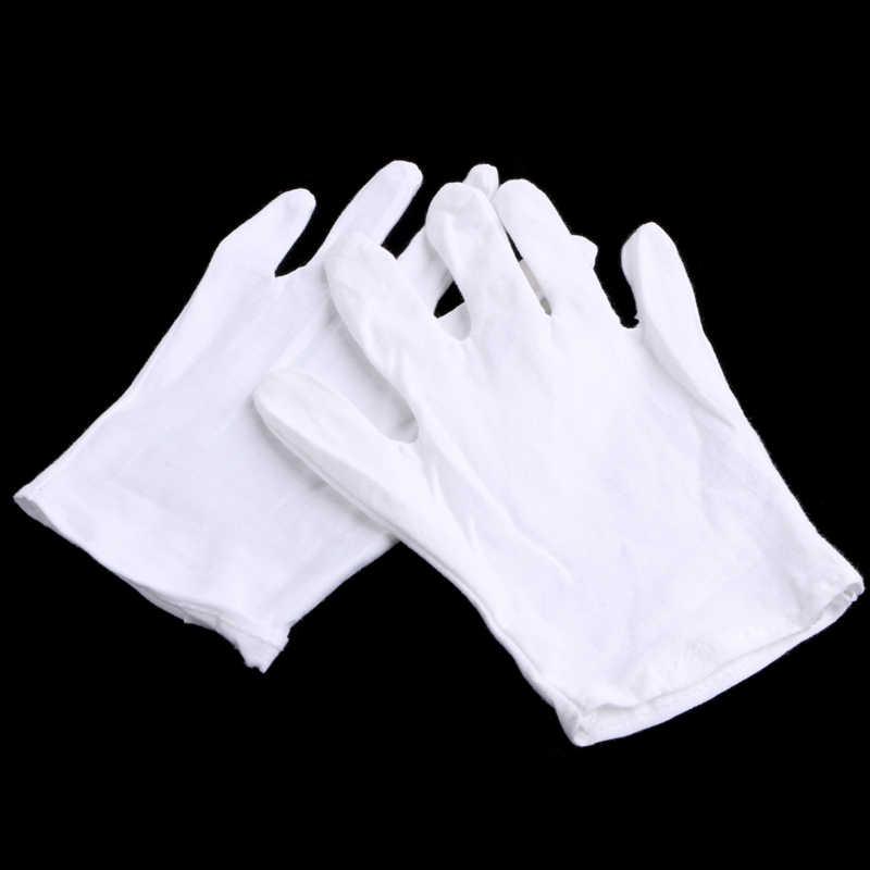 1 Pair Bianco Miscela Del Cotone Guanti per il Lavoro di Ispezione Coin Jewelry Leggero