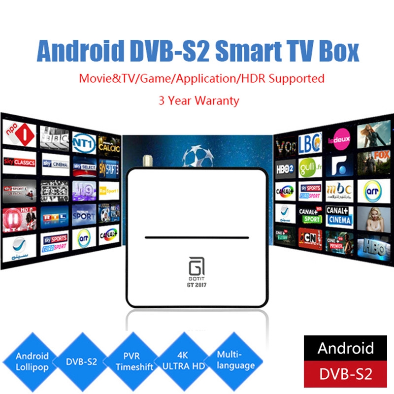 Geniune GOTiT GT2017 Android DVB-S2 Satellite TV Box AmlogicS 905 Chipset, 2G DDR, 8G Flash Quad core with BT 4.0 Set top box new