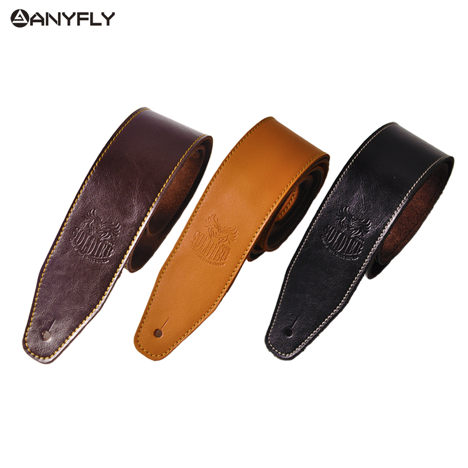2019 Genuine Cow Leather Cowhide Soft Durable Guitar Strap Acoustic Electric Guitar Strap Bass Strap Adjustable Guitar Belt(China)