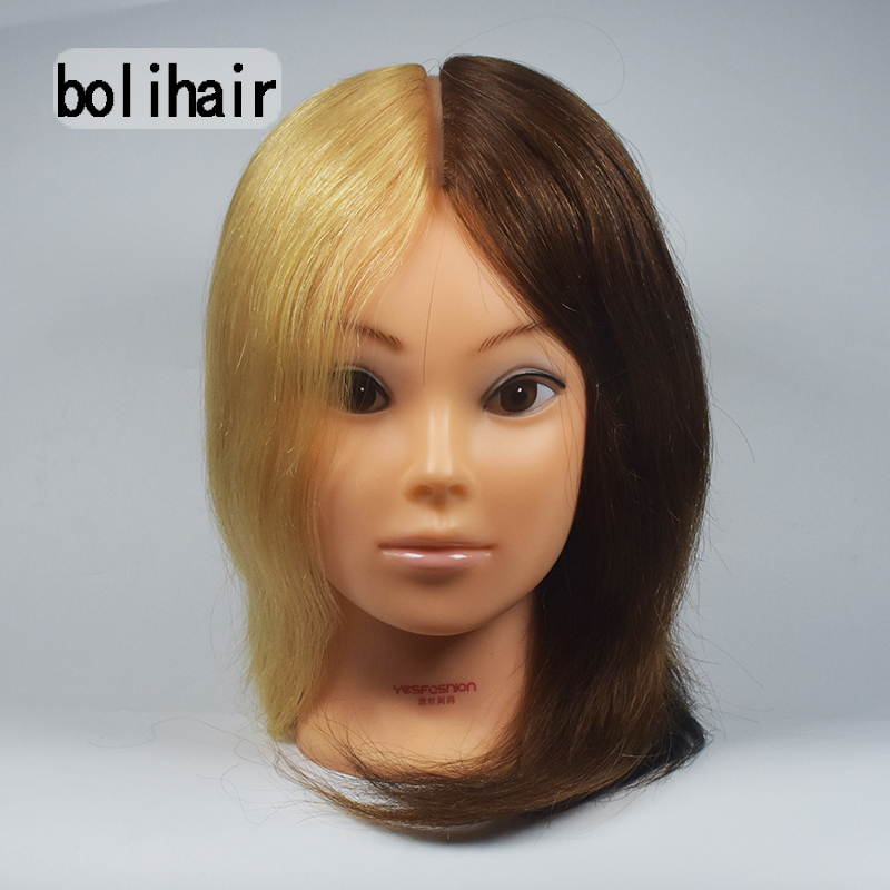 12 Inch 100% Real Blonde Four Color Human Hair Hairdressing Training Head Mannequin Doll Salon Model + Free Clamp