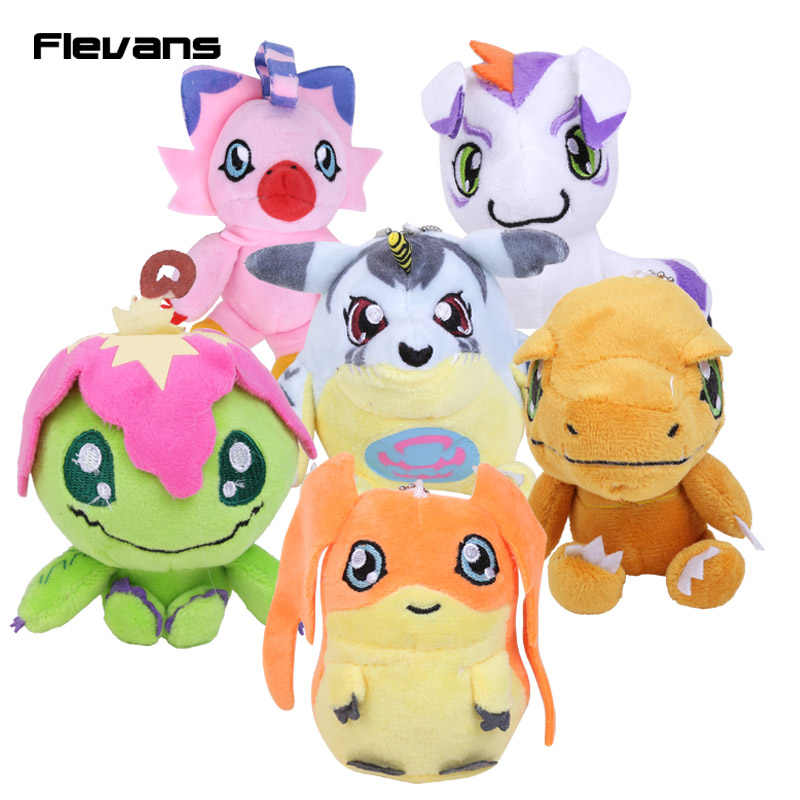 Anime Cartoon Digimon Adventure Agumon Gabumon Palmon Patamon Gomamon Piyomon Peluche Giocattoli Soft Ripiene Dolls 10 cm 10 pz/lotto