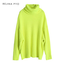 REJINAPYO Women Oversize Turtleneck Fashion Solid Knitted Sweater Pullovers Plus Size Ladies Loose Sweater for Autumn/Winter