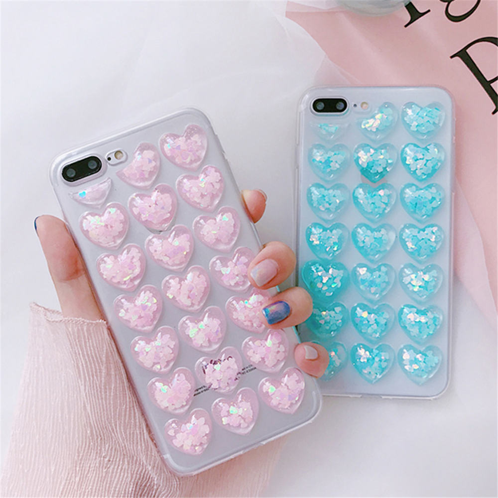 HTB1WqpaFL9TBuNjy1zbq6xpepXaX - Ottwn 3D Love Heart Clear Phone Case For iPhone 11 Pro Max XS XR X 8 7 6 6s Plus 5 5s SE Bling Sequin Transparent Soft TPU Cover