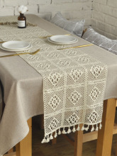 Retro American Style Table Runner Handmade Lace Knitted Hollow Out Table Runners Tea Dinner Table Runners Dustproof With Tassels
