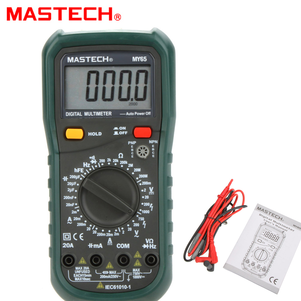 MASTECH MY65 4 1/2 HIGH ACCURACY Digital Multimeter DMM AC/DC Voltmeter Ammeter Ohmmeter w/ Capacitance Frequency & hFE Test