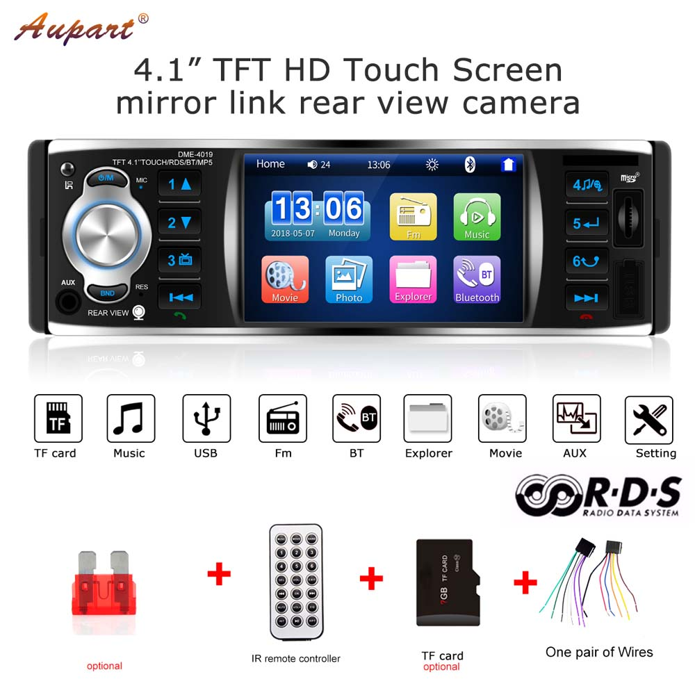 "1 Din Car Radio 4"" TFT Touch Screen Radio 1din Stereo RDS Bluetooth Audio Rearview Camera autoradio Mirror Link  USB FM-in Car Radios from Automobiles & Motorcycles"