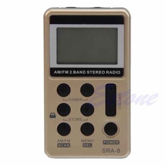 Mini Draagbare Am/Fm 2 Band Digitale Tuning Radio Stereo Receiver + Oortelefoon Dc 5V