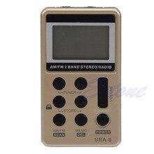 Mini portátil am/fm 2 banda sintonização digital rádio receptor estéreo + fone de ouvido dc 5 v