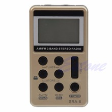 Mini przenośny AM/FM 2 zespół cyfrowy strojenia radia odbiornik stereo + słuchawki DC 5V