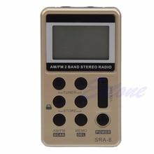 Mini taşınabilir AM/FM 2 bant dijital ayar radyo Stereo alıcı + kulaklık DC 5V