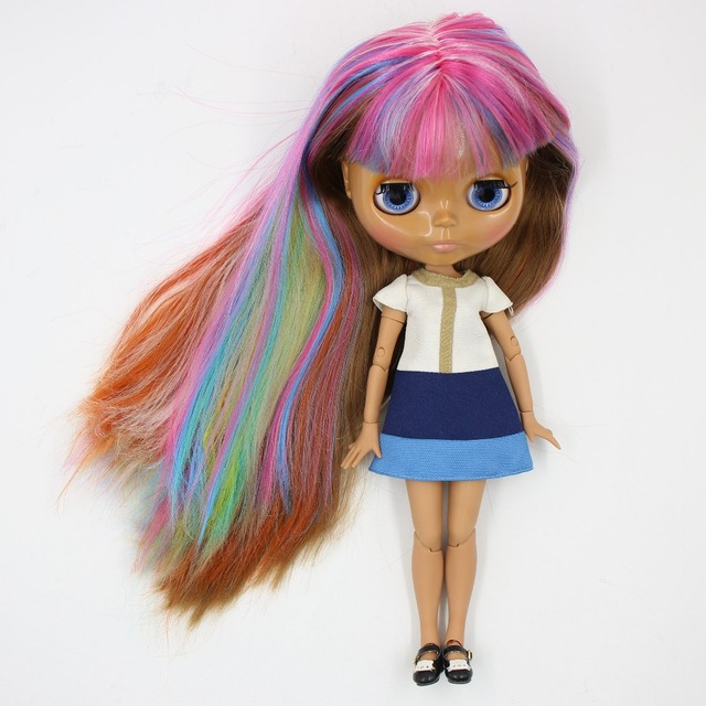 TBL Neo Blythe Doll Colorful Hair Dark Skin Jointed Body