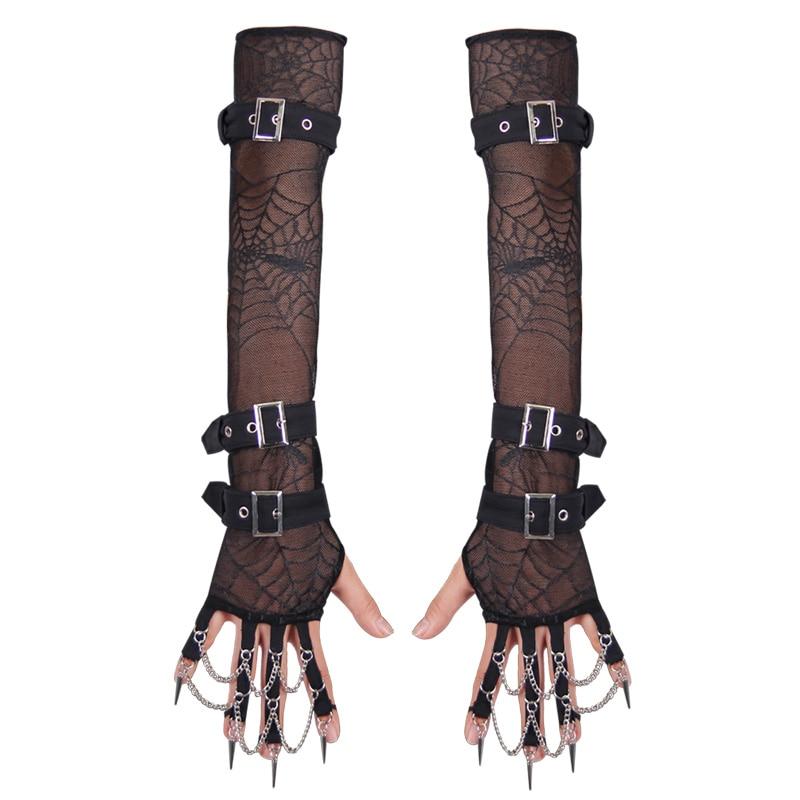 2019 Neuer Stil Punk Winter Lolita Zubehör Spitze Handschuhe Gothic Schwarze Handschuhe Mit Bowknot Nette Frauen Armlinge Fingerlose Mesh Handschuhe Armstulpen