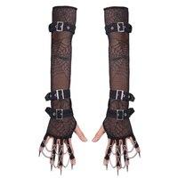 Devil Fashion Gothic Black Elastic Spider Mesh Arm Sleeves Gloves Punk Winter Sexy Warm Women Arm Gloves