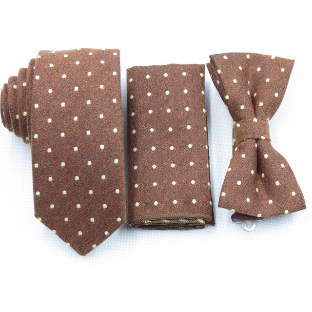 0ee3cd45d251e Yellow brown tie for men's bow tie matching pocket square begie dot bowtie  cotton fabric small