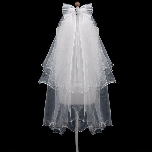 נשים חתונה שמלת צעיף לבן bowknot שכבות טול רצועת הכלים Edge כלה הרעלות