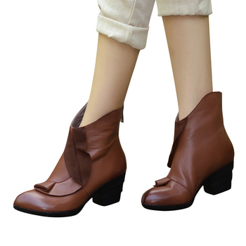 Xiangban Handmade Original Retro Female Leather Boots High Heel Elegant Pastoral Wind Women Boots 6208K11 leather