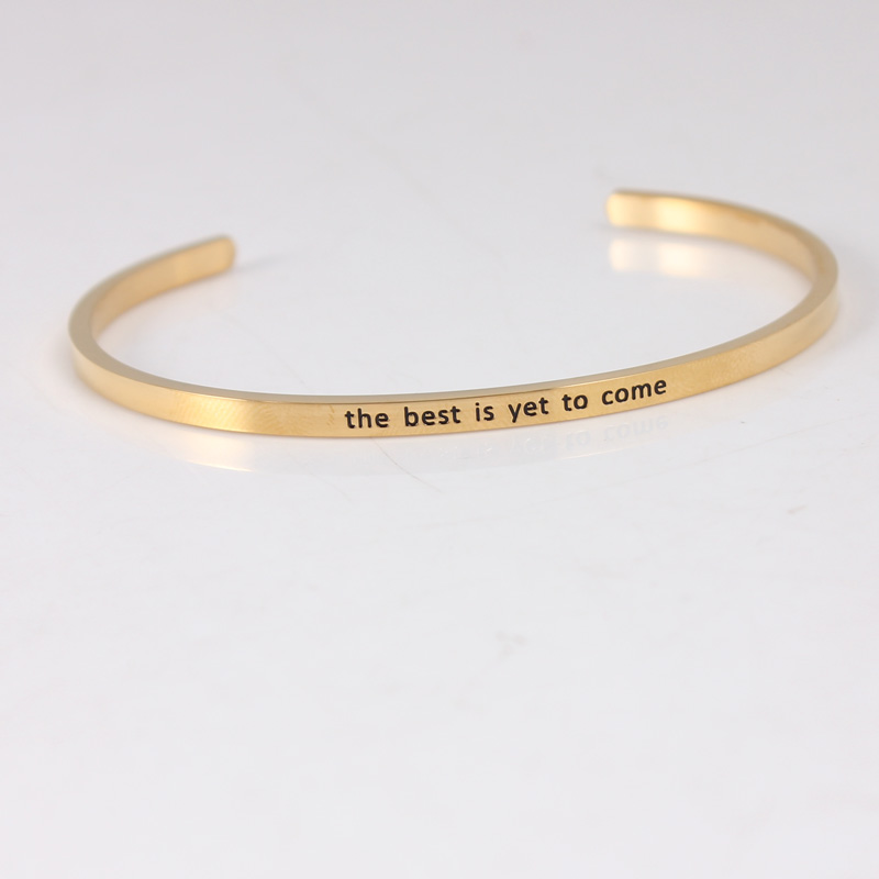The best is yet to come Gold Color 316L Stainless Steel Bar Bangle Positive Inspirational Quote Cuff Mantra Bracelets For Women image