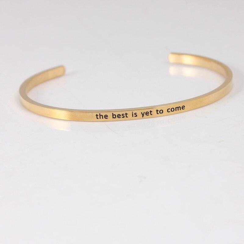 Le meilleur est encore à venir couleur or 316L acier inoxydable barre bracelet positif inspirant citation manchette Mantra bracelets pour femme