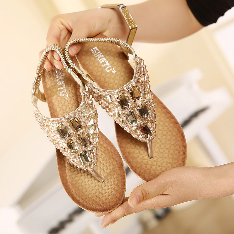 New Women Wedge Sandal Bling Bling Rhinestone Flip Flops Casual Silver Gold  Platform Sandals All match Shoes Woman Size 34 40-in Women s Sandals from  Shoes ... 994d6840d32c