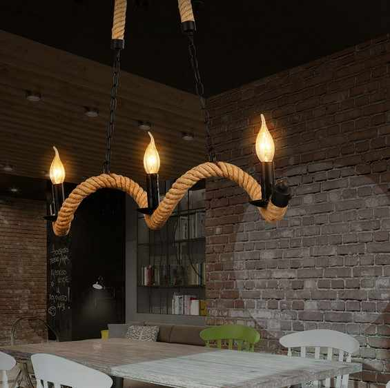 Ретро Лофт Стиль подвесной светильник, украшенный пеньковой веревкой светодиодный подвесной светильник светильники Винтаж промышленное освещение для Обеденная подвесной светильник