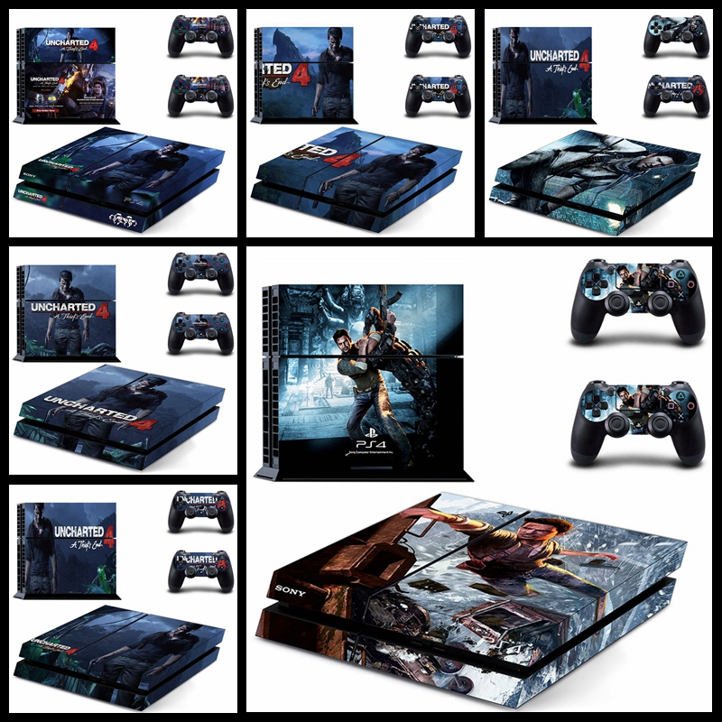 New Uncharted 4 - A Thief's End Style Skin Sticker Cover For Playstation 4 PS4 Console and Cover Decals Of 2 Controllers