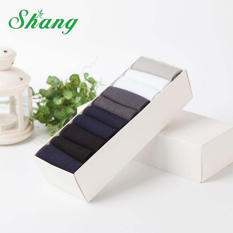 BAMBOO WATER SHANG 10paires / Gift box balení pánské Bambusové vlákno ponožky pánské elitní ležérní obchodní čisté ponožky LQ-33