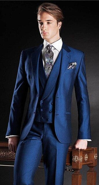 2017 Novo Bule de Ajuste Fino Do Noivo Smoking Melhor casamento do homem do Terno Notch Lapela Groomsman Men Casamento Ternos Noivo (Jacket + calça + Colete)