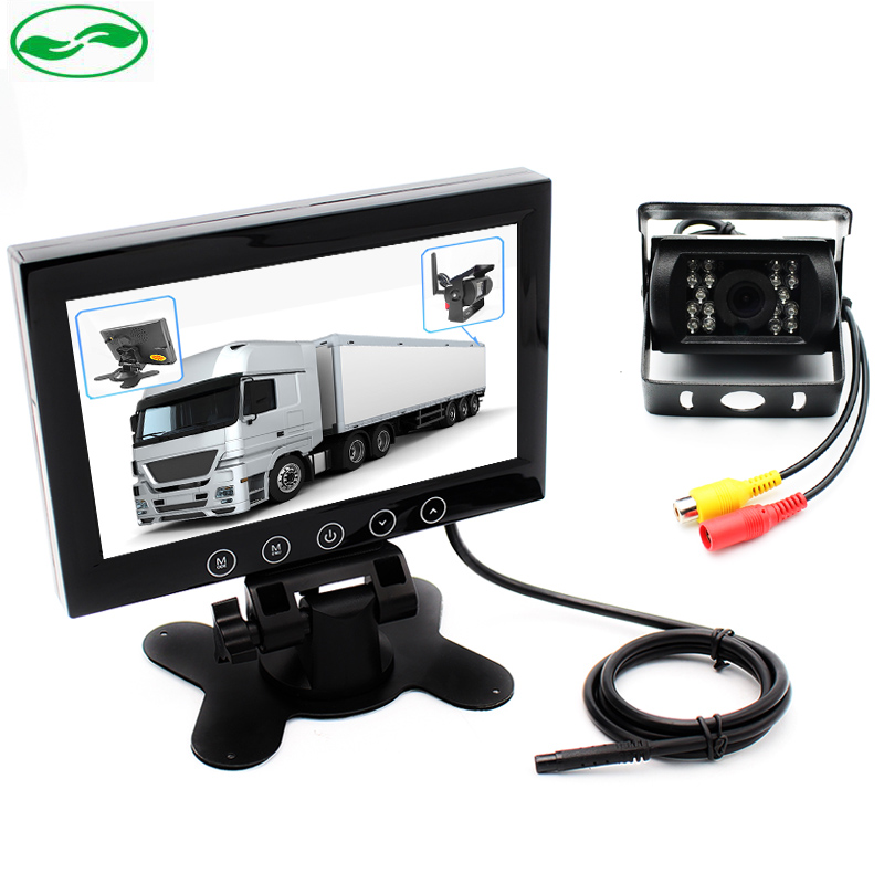 ФОТО DC 12~36V Bus Truck Video Parking Monitor System, HD 7 Inch LCD Car Monitor With 6~20M RCA Cable CCD Rear View Camera