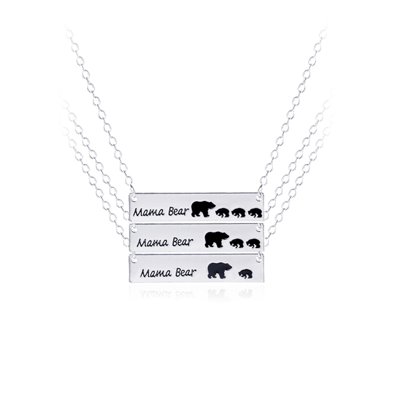3 style mama bear necklaces mothers day gift necklace dog tag letter enamel bear mom and 1 2 3 babys jewelry for child birthday