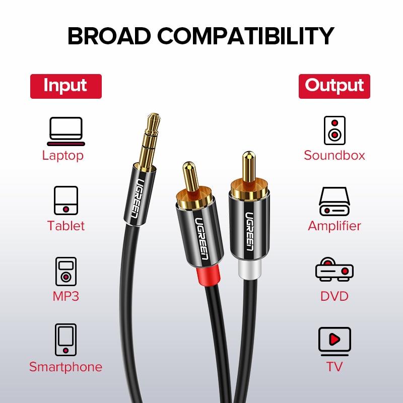 RCA Jack Cable 2 RCA Male to 3.5 male Audio Cable 1m 2m 3m 5m 8m AUX  Edifer