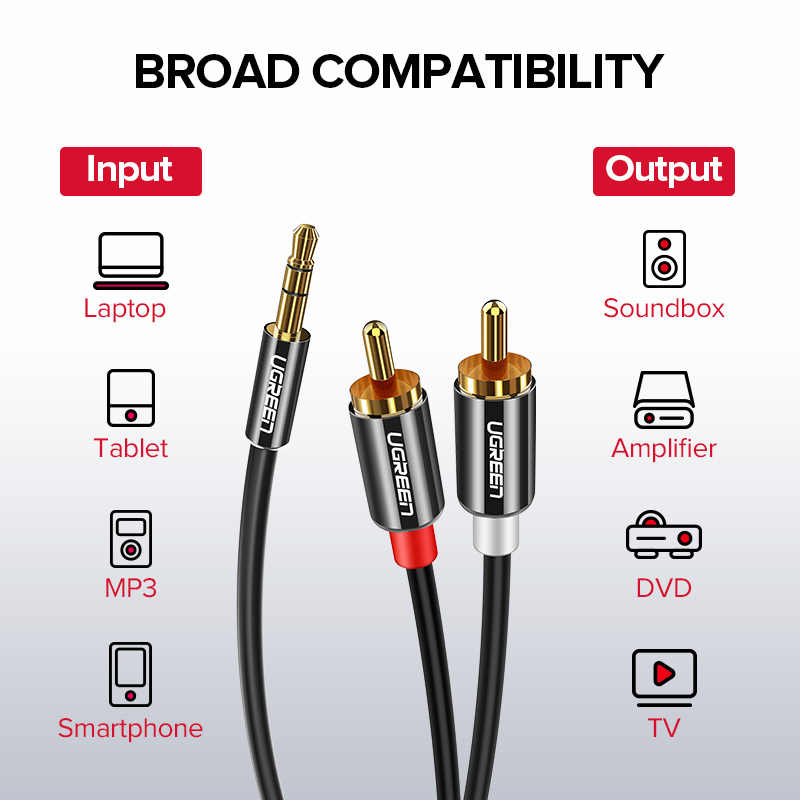 Ugreen rca jack cable 2 rca male to 3.5 male audio cable 2m 3m 5m aux cable for Edifer Home Theater DVD VCD iPhone Headphones