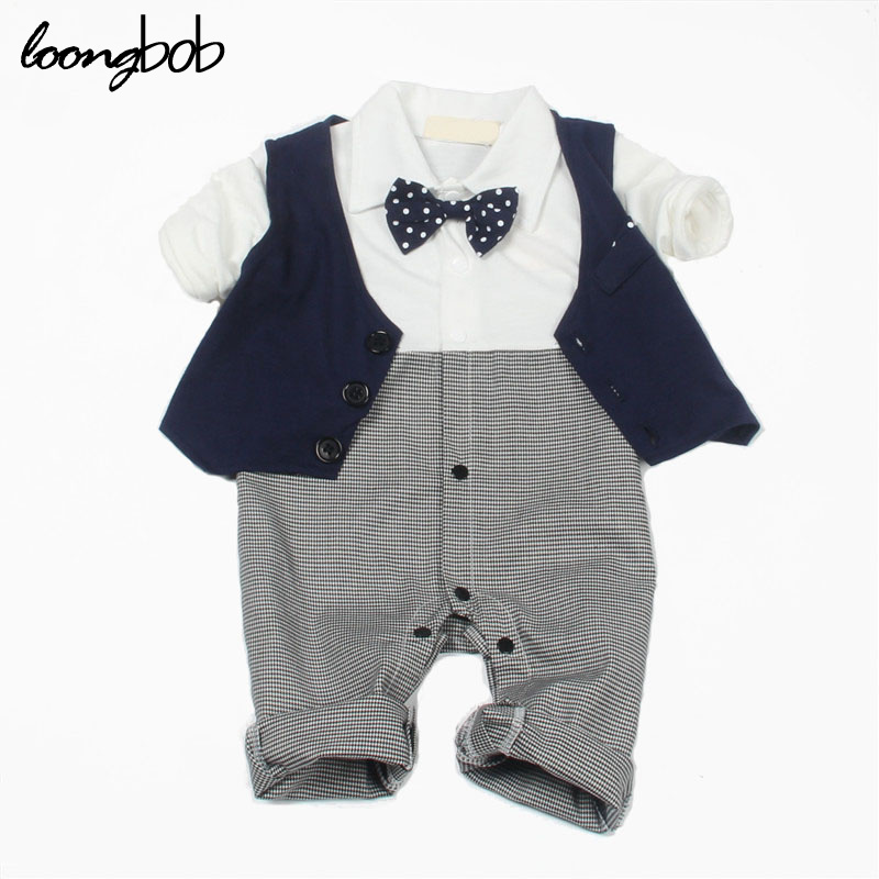 2016 Baby boy gentlemen romper newborn formal party wedding wear infantil jumpsuit spring autumn suit casual clothes custume