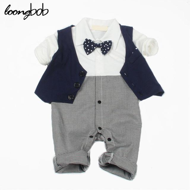 2016 Baby boy señores mameluco recién nacido desgaste infantil jumpsuit formal del banquete de boda traje de otoño primavera ropa casual custume